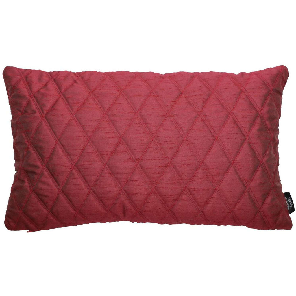McAlister Textiles Rocco Diamond Quilted Wine Red Silk Pillow Pillow Cover Only 50cm x 30cm