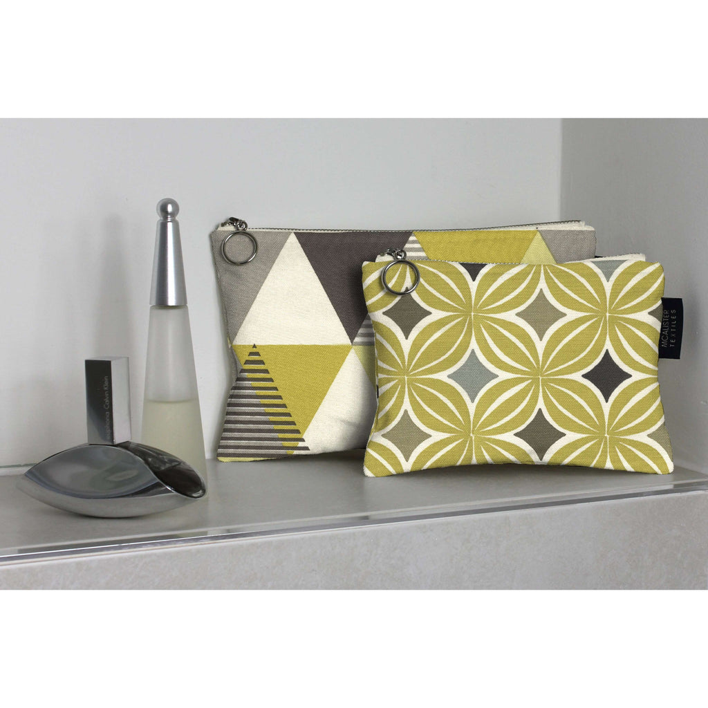 McAlister Textiles Yellow + Grey Cotton Print Makeup Bag Set Clutch Bag