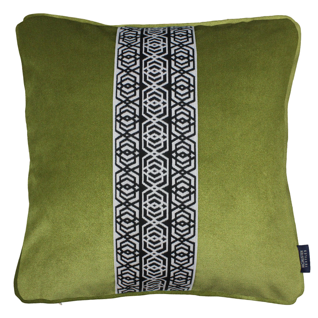 McAlister Textiles Coba Striped Lime Green Velvet Cushion Cushions and Covers Polyester Filler 43cm x 43cm