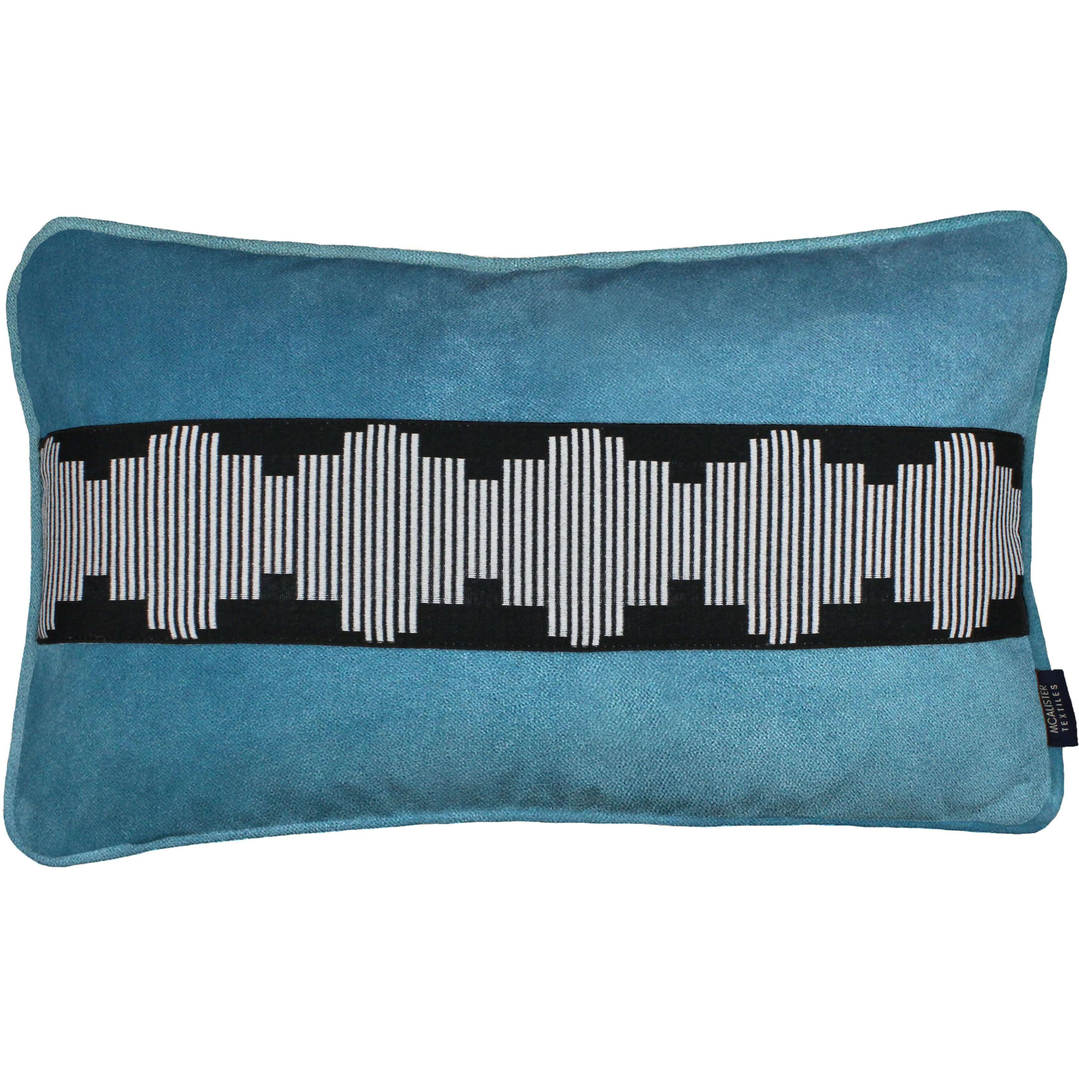 McAlister Textiles Maya Striped Duck Egg Blue Velvet Cushion Cushions and Covers Cover Only 50cm x 30cm
