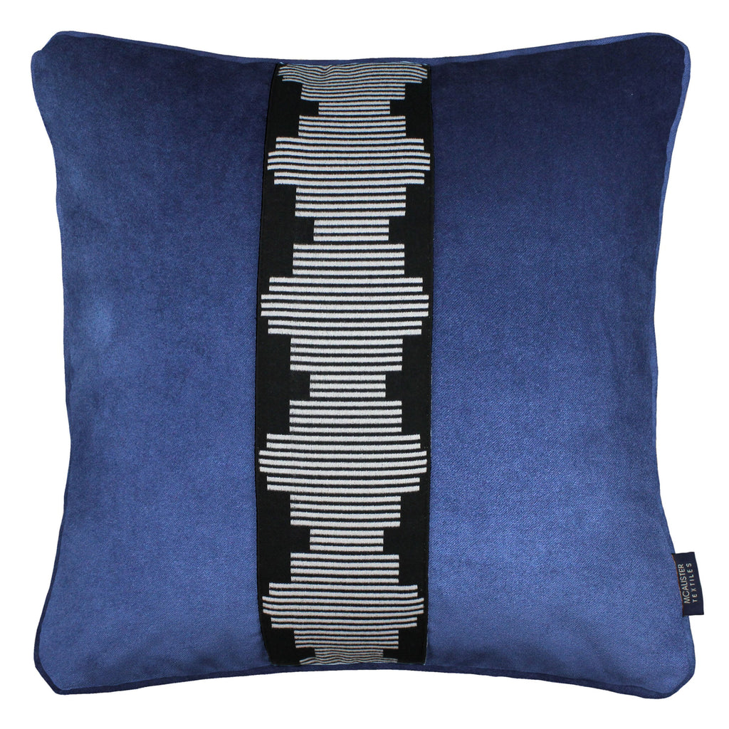 McAlister Textiles Maya Striped Navy Blue Velvet Cushion Cushions and Covers Polyester Filler 43cm x 43cm