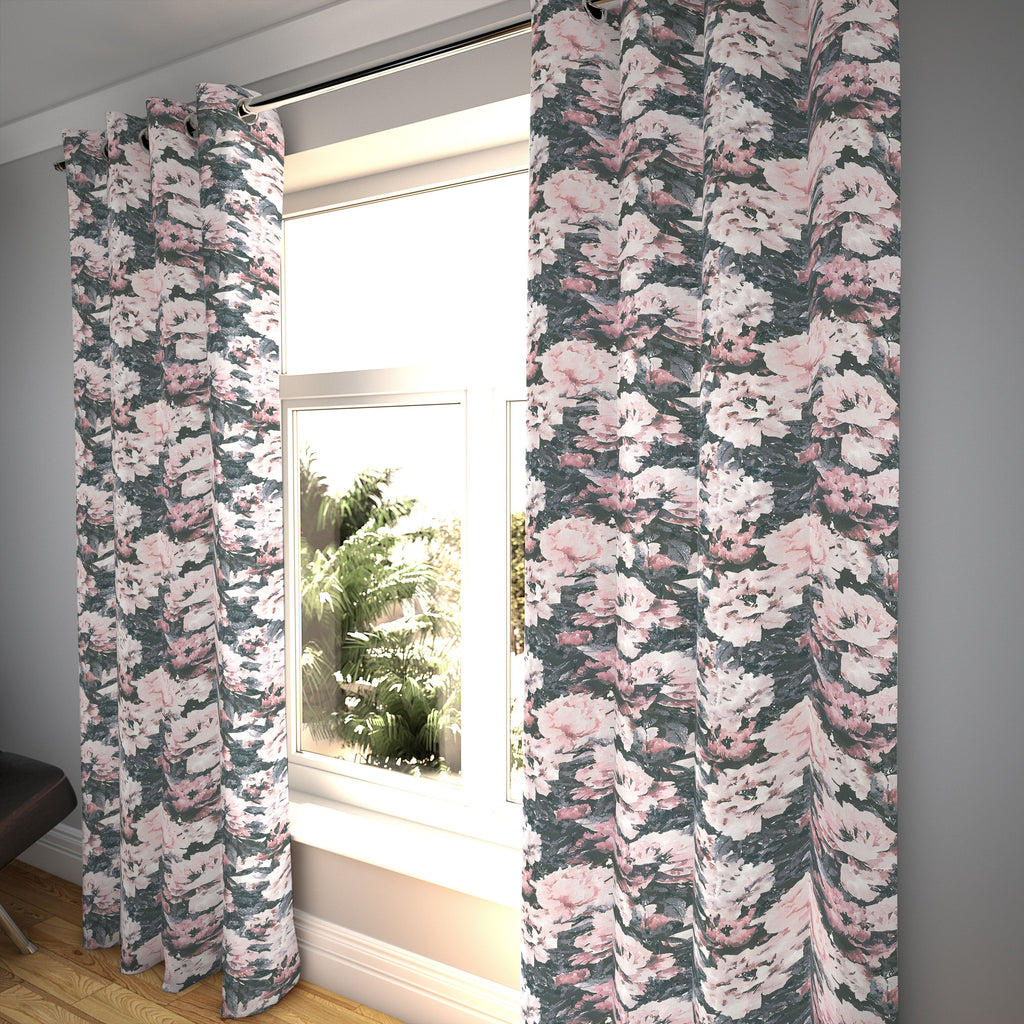 "McAlister Textiles Camille Floral Velvet Curtains Tailored Curtains 116cm(w) x 182cm(d) (46"" x 72"")"