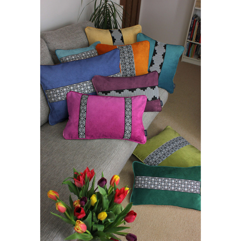 McAlister Textiles Maya Striped Duck Egg Blue Velvet Cushion Cushions and Covers