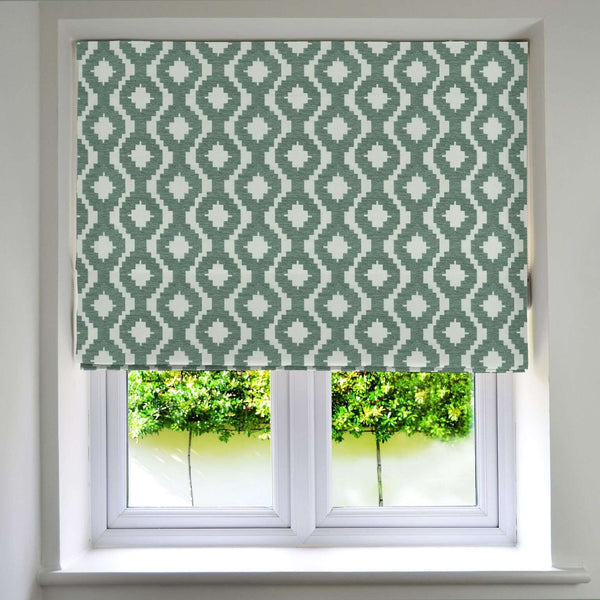 McAlister Textiles Arizona Geometric Duck Egg Blue Roman Blind Roman Blinds