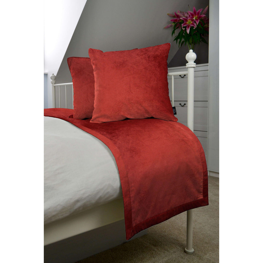 McAlister Textiles Matt Rust Red Orange Velvet Bedding Set Bedding Set Runner (50x240cm) + 2x Cushion Covers