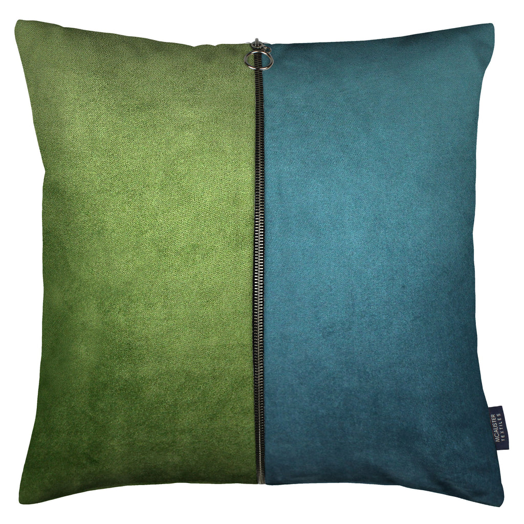 McAlister Textiles Decorative Zip Teal + Green Velvet Cushion Cushions and Covers Cover Only 43cm x 43cm