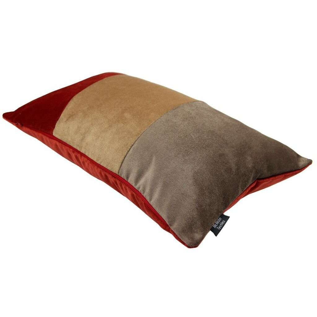 McAlister Textiles 3 Colour Patchwork Velvet Brown, Gold + Red Pillow Pillow