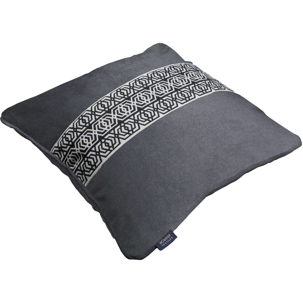 McAlister Textiles Coba Striped Charcoal Grey Velvet Pillow Pillow