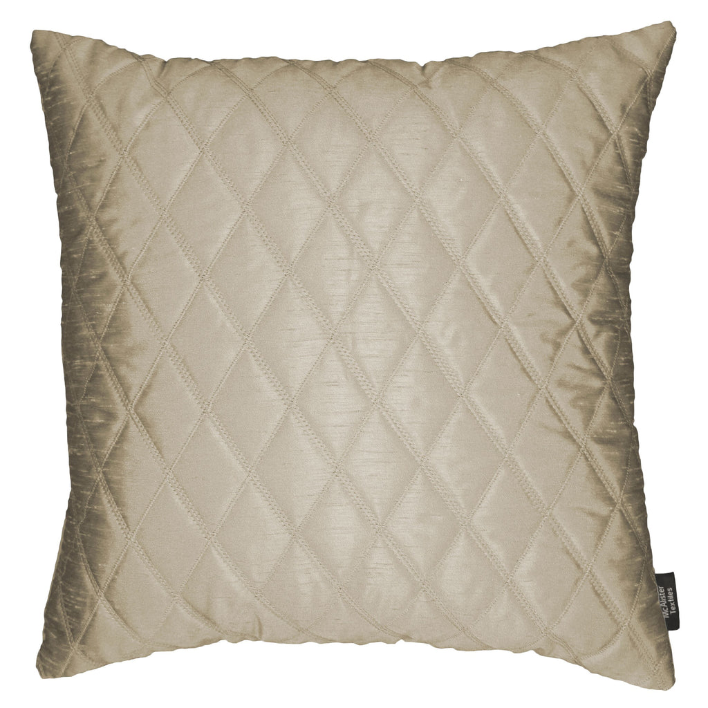 McAlister Textiles Rocco Diamond Quilted Taupe Silk Cushion Cushions and Covers Cover Only 43cm x 43cm