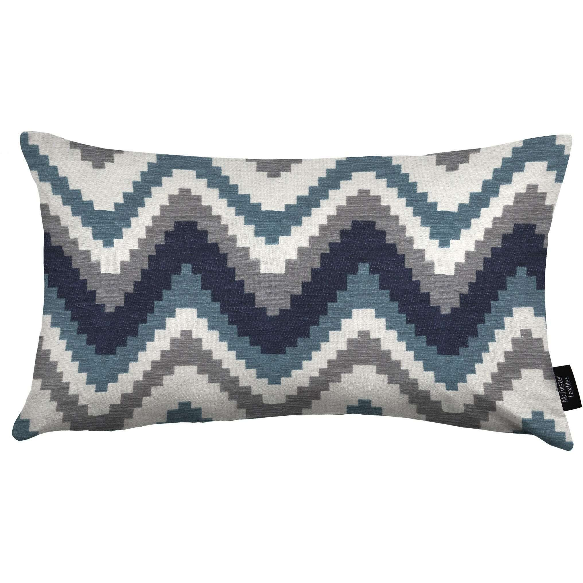 McAlister Textiles Navajo Navy Blue Striped Cushion Cushions and Covers Cover Only 50cm x 30cm