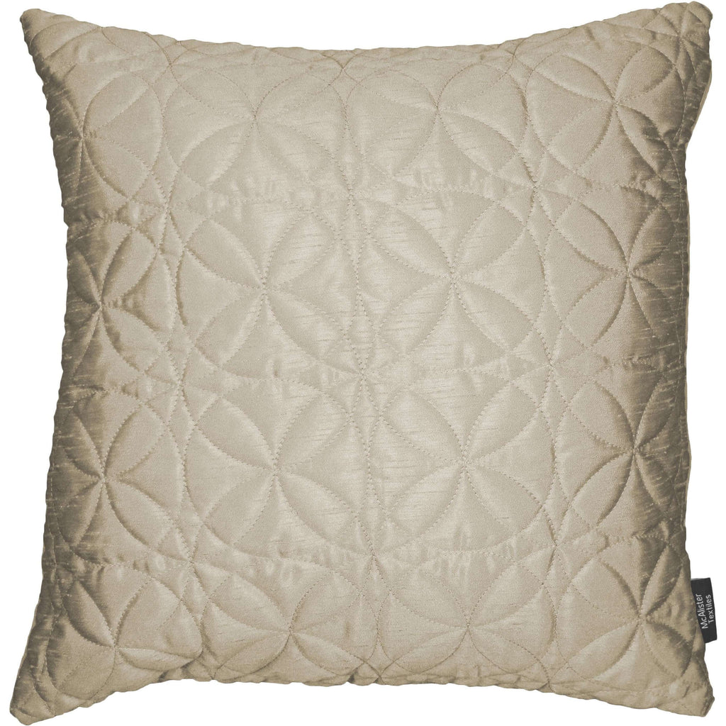 McAlister Textiles Rocco Round Quilted Ivory Silk Pillow Pillow