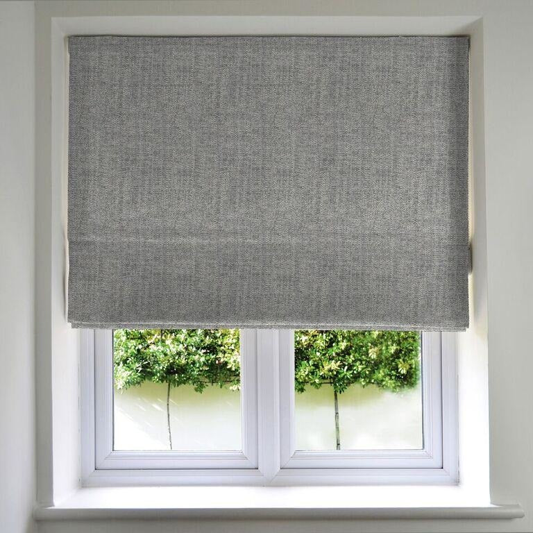McAlister Textiles Rhumba Charcoal Grey Roman Blind Roman Blinds Standard Lining 130cm x 200cm