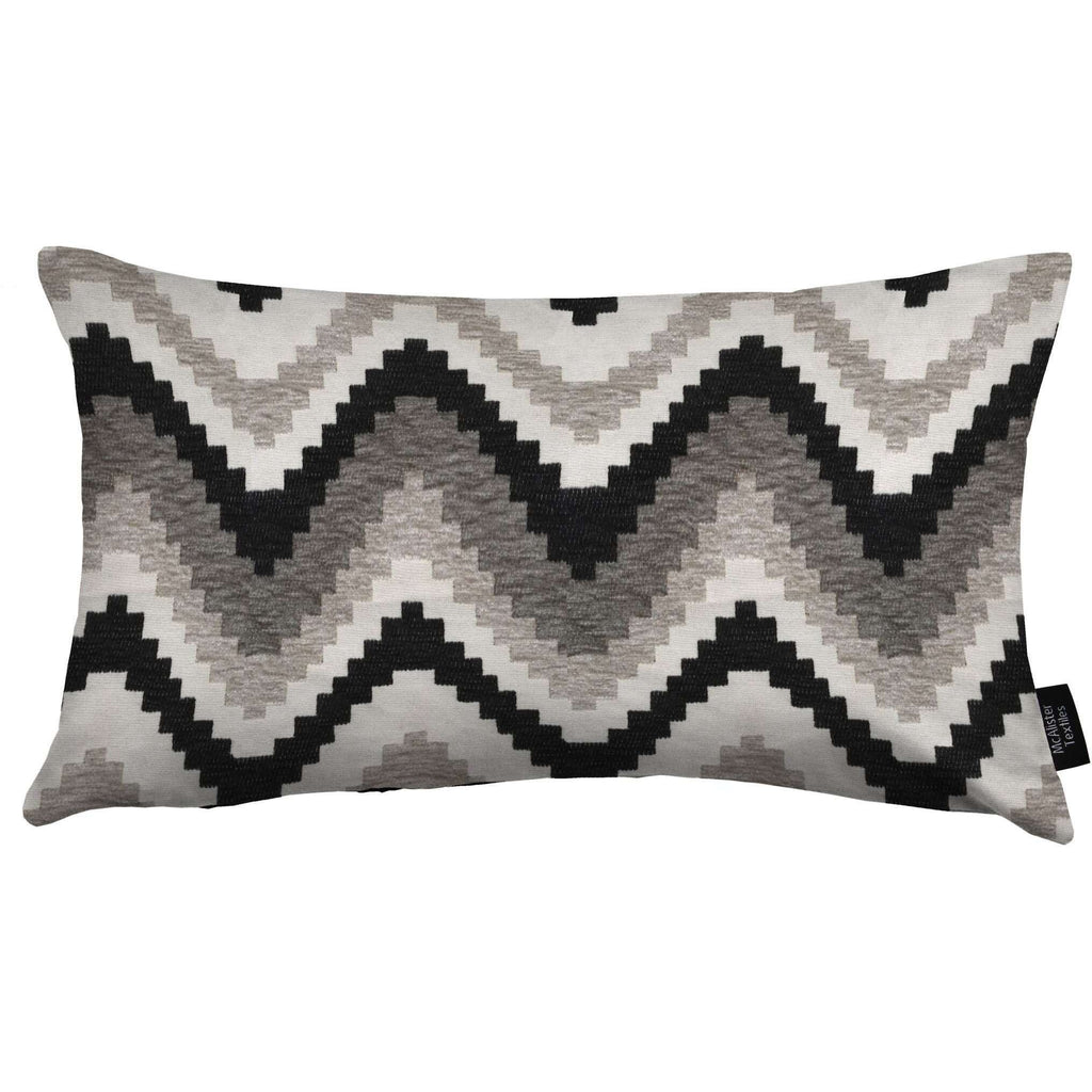 McAlister Textiles Navajo Black + Grey Striped Cushion Cushions and Covers Cover Only 50cm x 30cm