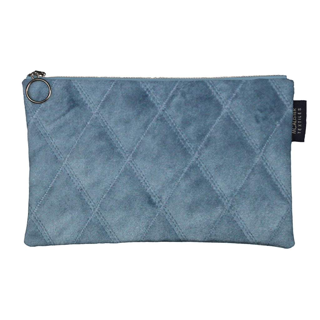 McAlister Textiles Diamond Pattern Blue Velvet Makeup Bag - Large Clutch Bag
