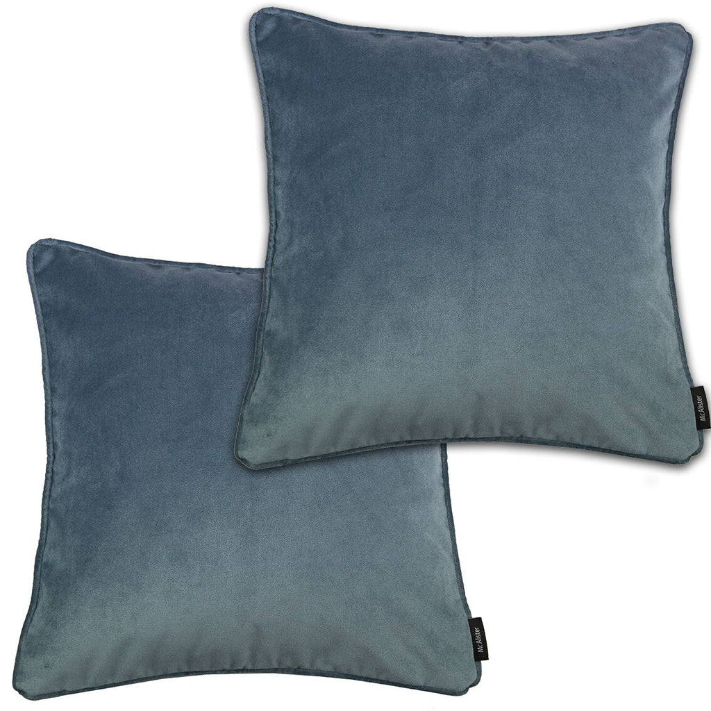 McAlister Textiles Matt Petrol Blue Velvet 43cm x 43cm Cushion Sets Cushions and Covers Cushion Covers Set of 2