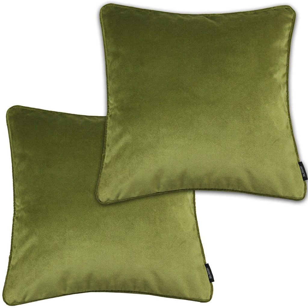 McAlister Textiles Matt Lime Green Velvet 43cm x 43cm Cushion Sets Cushions and Covers Cushion Covers Set of 2