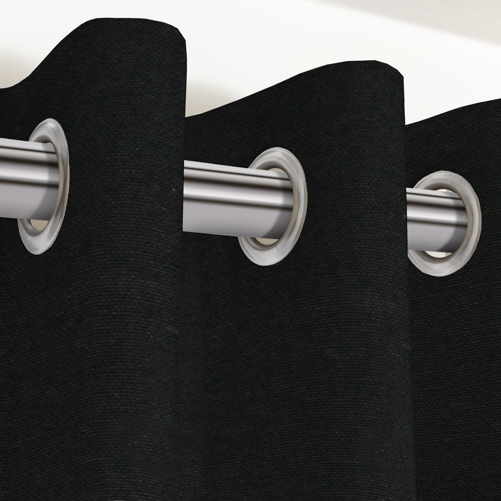 "McAlister Textiles Panama Plain Black Curtains Tailored Curtains 116cm(w) x 137cm(d) (46"" x 54"")"