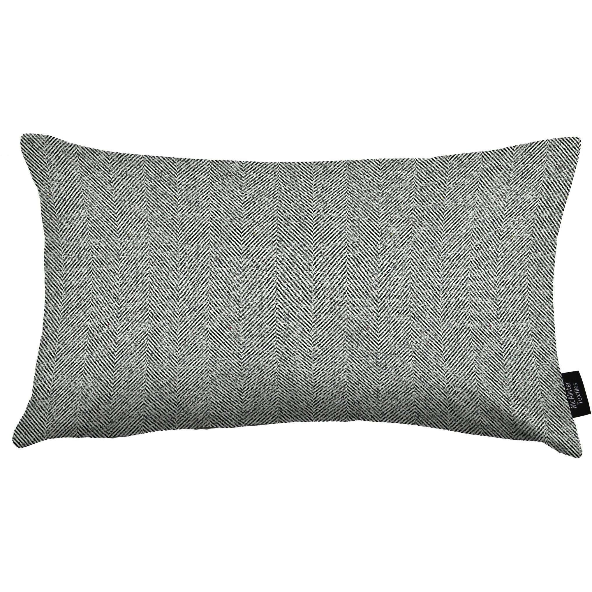 McAlister Textiles Herringbone Charcoal Grey Pillow Pillow Cover Only 50cm x 30cm