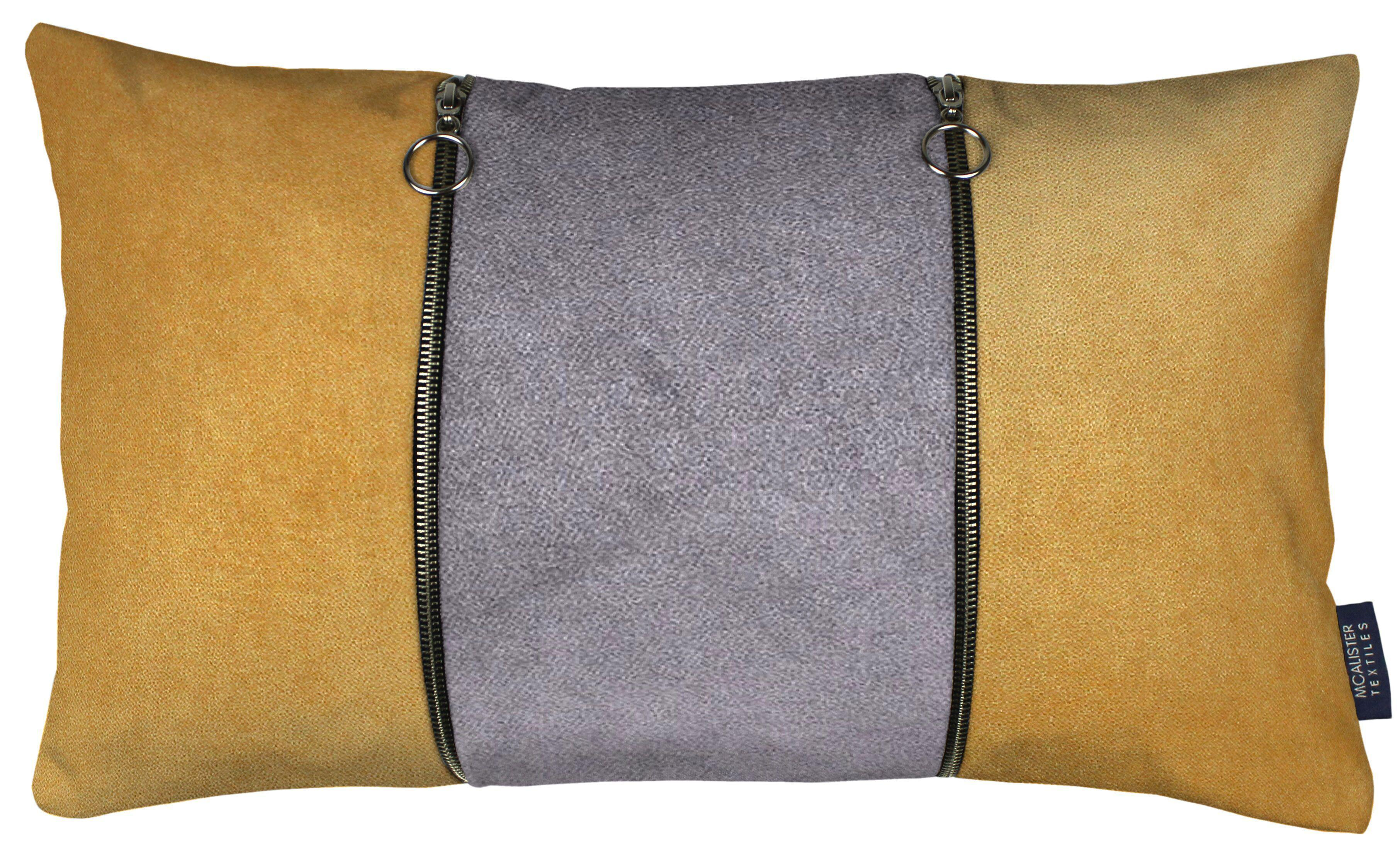 McAlister Textiles Decorative Double Zip Yellow + Grey Velvet Pillow Pillow Cover Only 50cm x 30cm