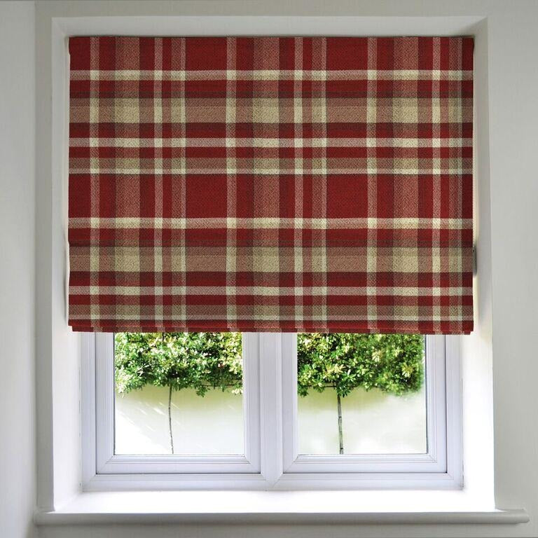 McAlister Textiles Heritage Red + White Tartan Roman Blind Roman Blinds Standard Lining 130cm x 200cm