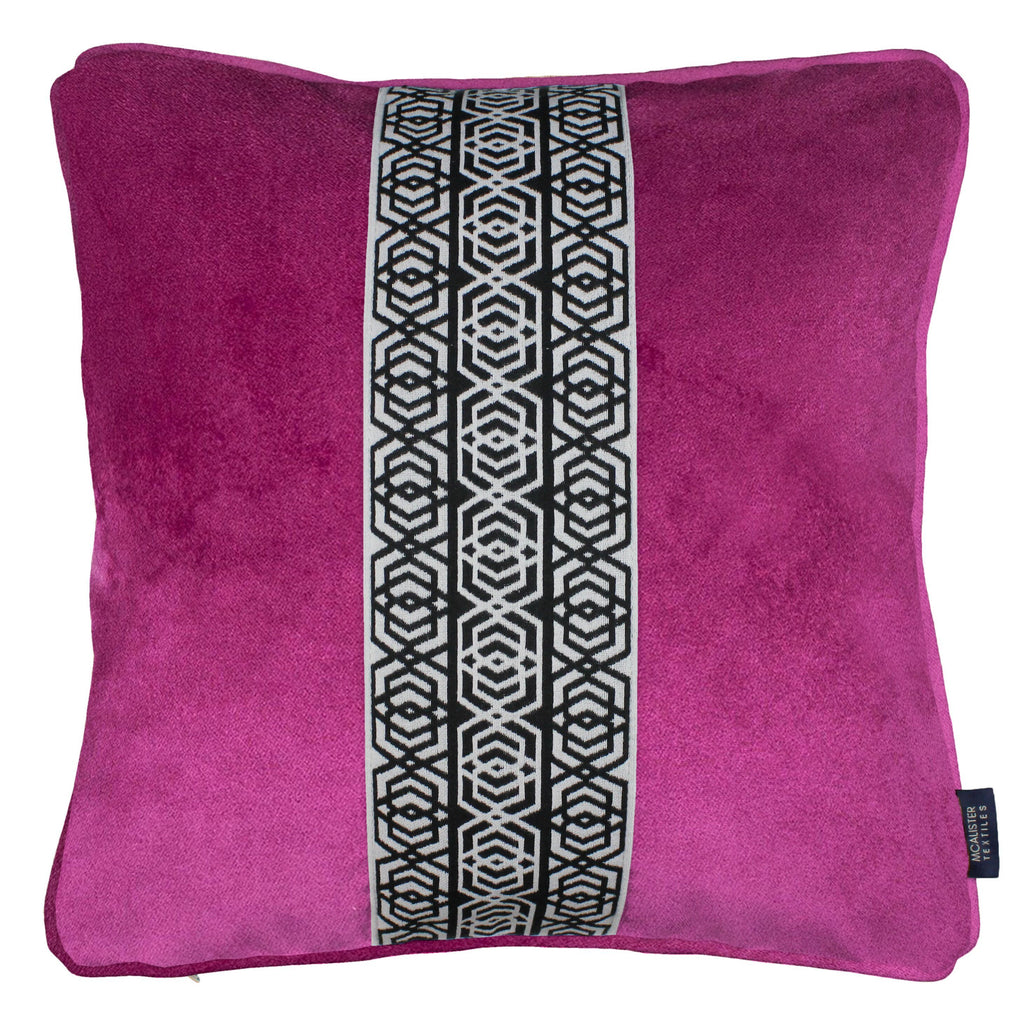 McAlister Textiles Coba Striped Fuchsia Pink Velvet Cushion Cushions and Covers Polyester Filler 43cm x 43cm