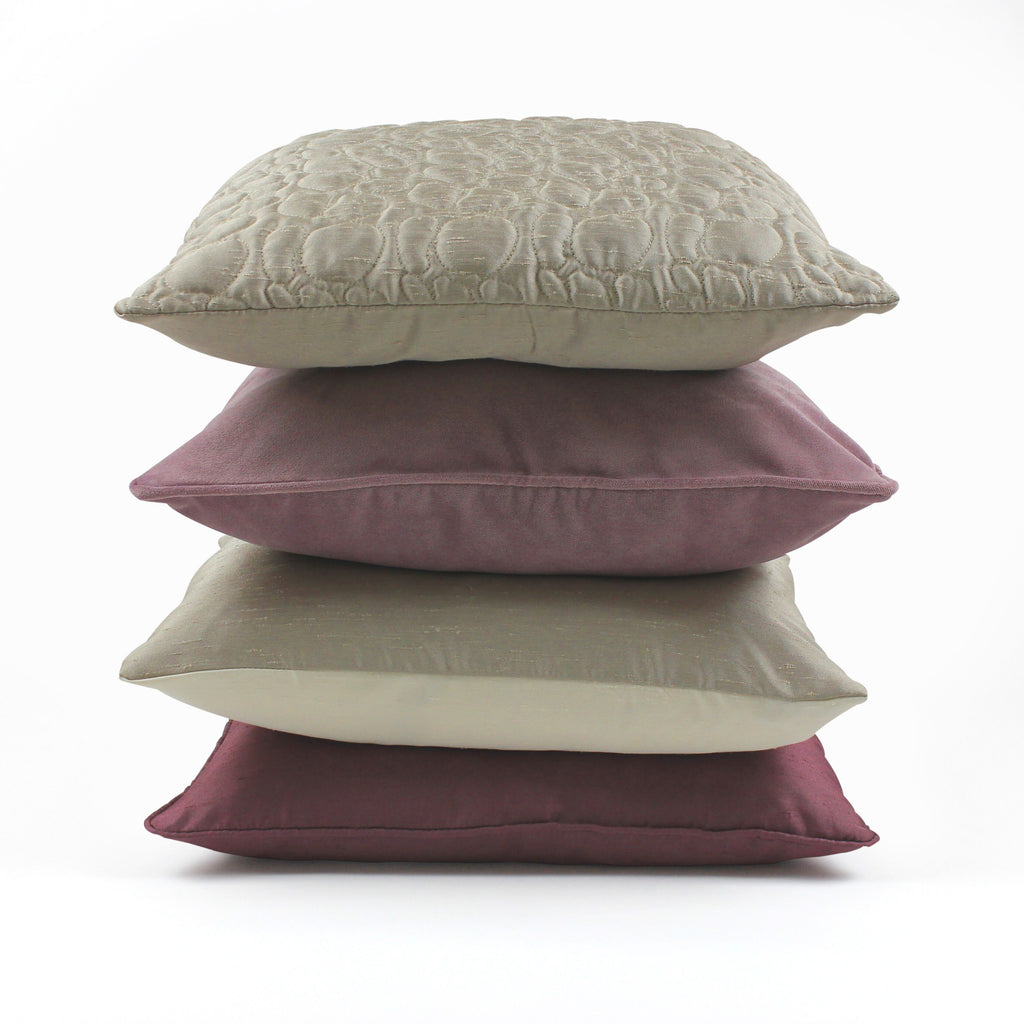 McAlister Textiles Rocco Contrast Faux Silk Natural+ Taupe Cushion Cushions and Covers