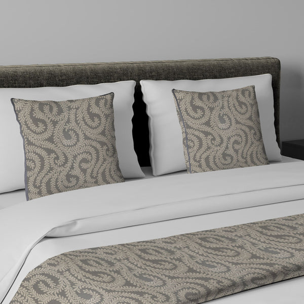 McAlister Textiles Little Leaf Charcoal Grey Bedding Set Bedding Set Runner (50x240cm) + 2x Cushion Covers