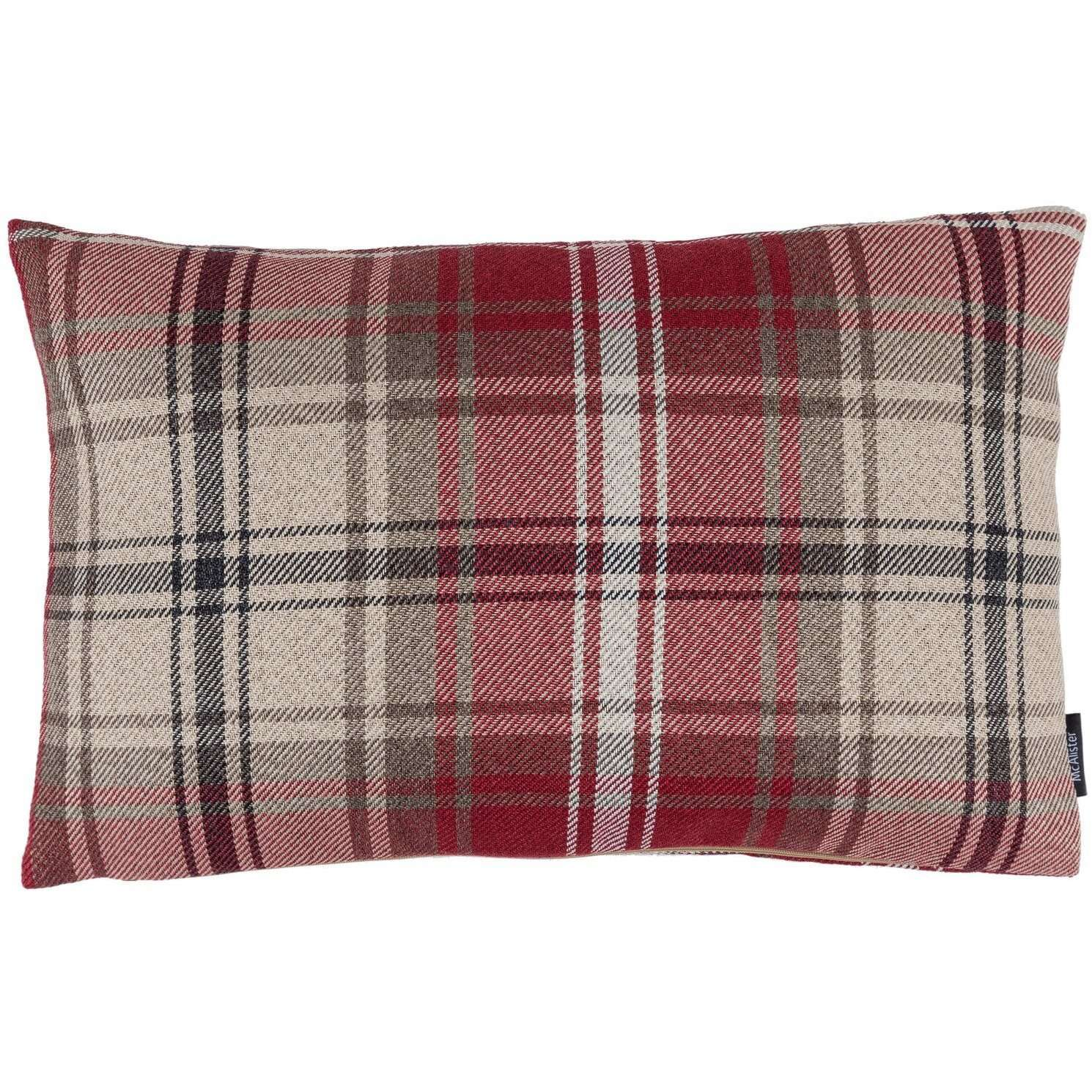 McAlister Textiles Angus Red + White Tartan Pillow Pillow Cover Only 50cm x 30cm