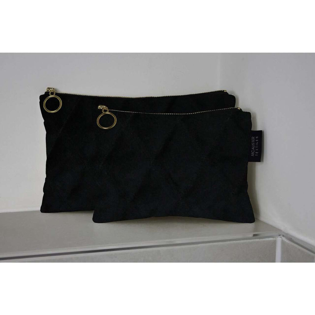 McAlister Textiles Diamond Pattern Black Velvet Makeup Bag Set Clutch Bag