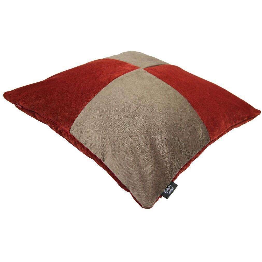McAlister Textiles Square Patchwork Velvet Gold + Red Cushion Cushions and Covers
