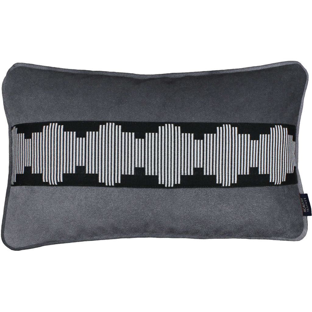 McAlister Textiles Maya Striped Charcoal Grey Velvet Pillow Pillow Cover Only 50cm x 30cm