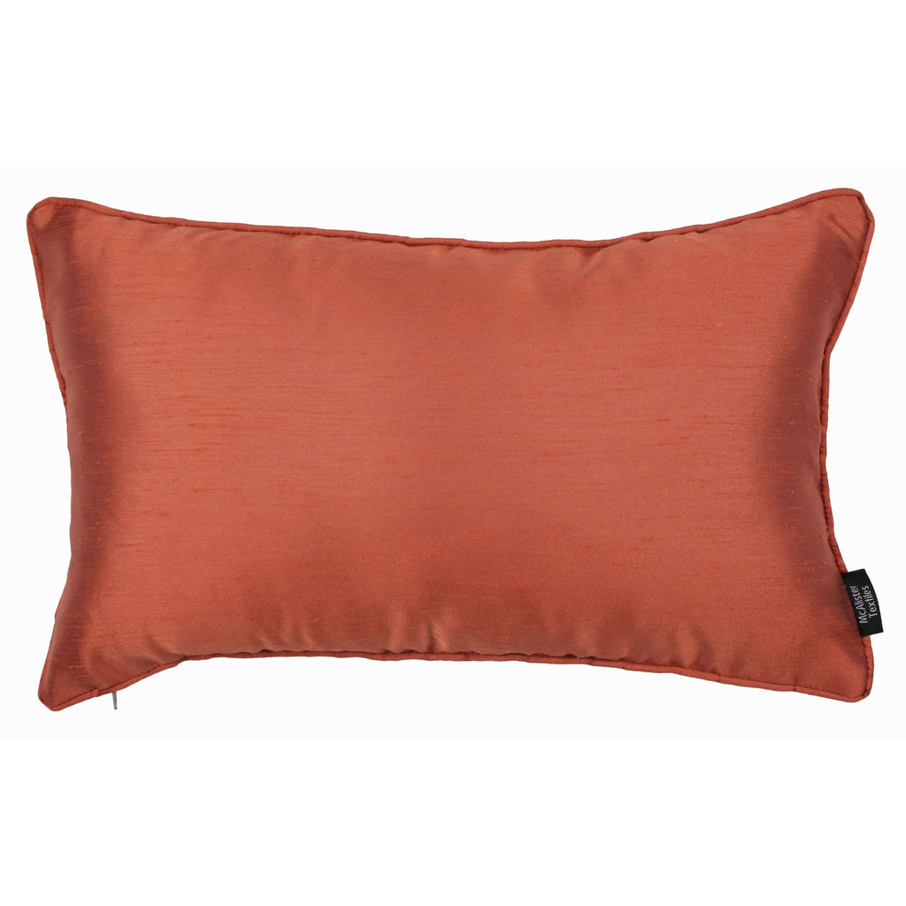 McAlister Textiles Rocco Plain Faux Silk Burnt Orange Cushion Cushions and Covers Cover Only 50cm x 30cm