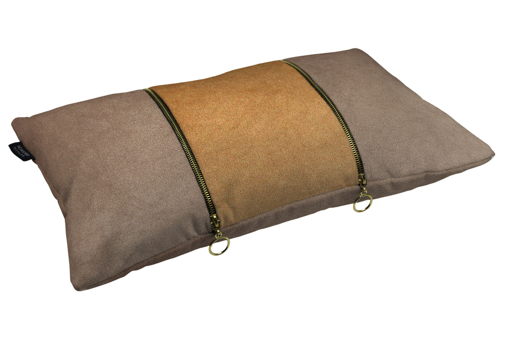 McAlister Textiles Decorative Double Zip Caramel + Brown Velvet Pillow Pillow