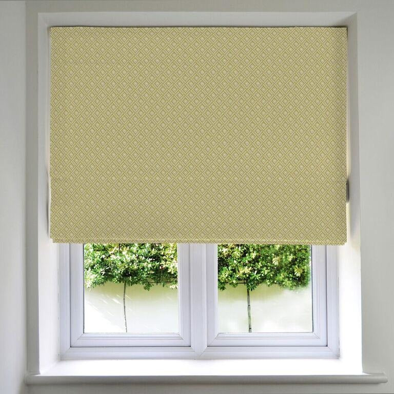 McAlister Textiles Elva Patterned Roman Blind - Ochre Yellow Roman Blinds Standard Lining 130cm x 200cm Yellow