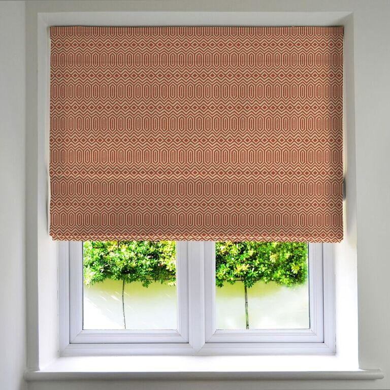 McAlister Textiles Colorado Geometric Burnt Orange Roman Blind Roman Blinds Standard Lining 130cm x 200cm