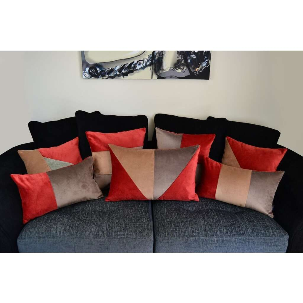 McAlister Textiles Triangle Patchwork Velvet Brown, Gold + Red Cushion Cushions and Covers