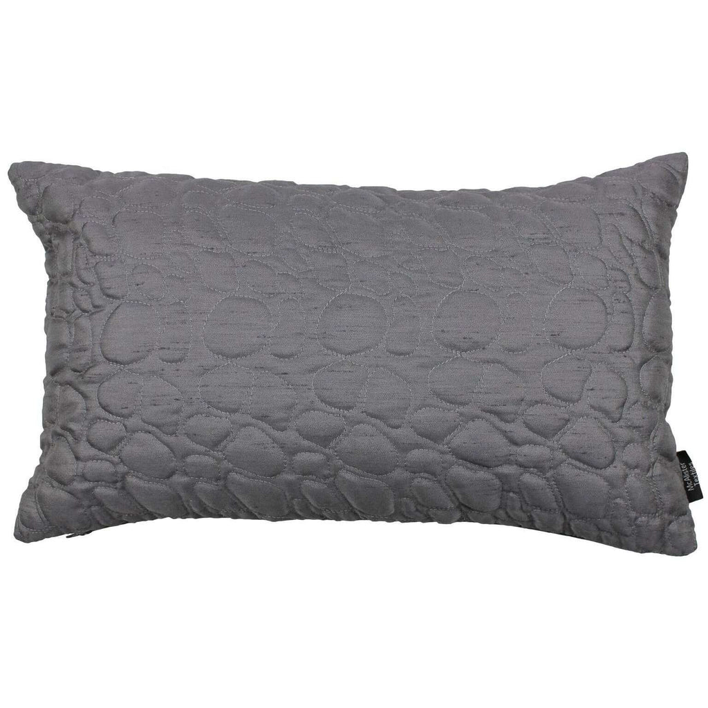 McAlister Textiles Rocco Pebble Quilted Charcoal Grey Silk Pillow Pillow Cover Only 50cm x 30cm
