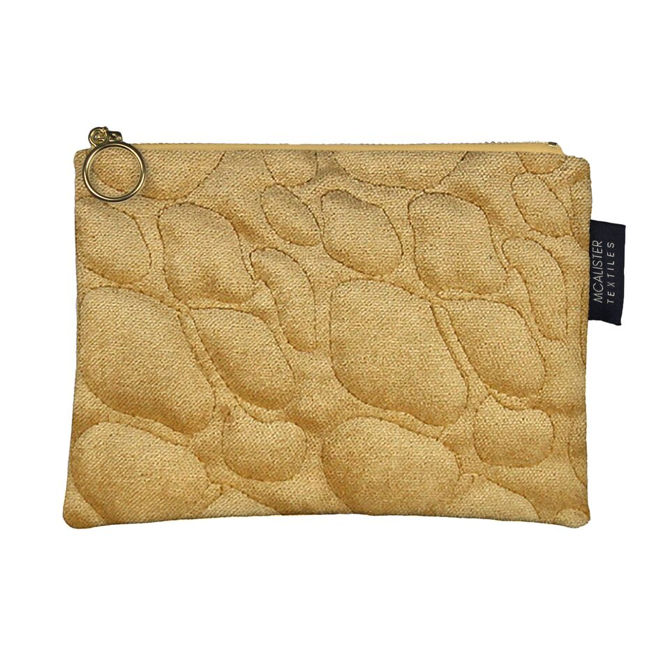McAlister Textiles Pebble Pattern Yellow Velvet Makeup Bag Clutch Bag
