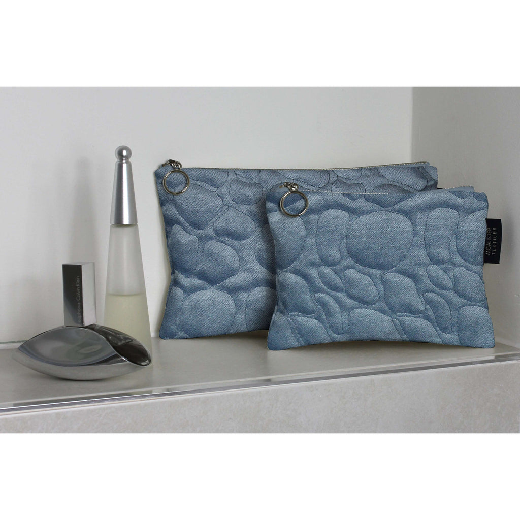 McAlister Textiles Pebble Pattern Blue Velvet Makeup Bag Set Clutch Bag