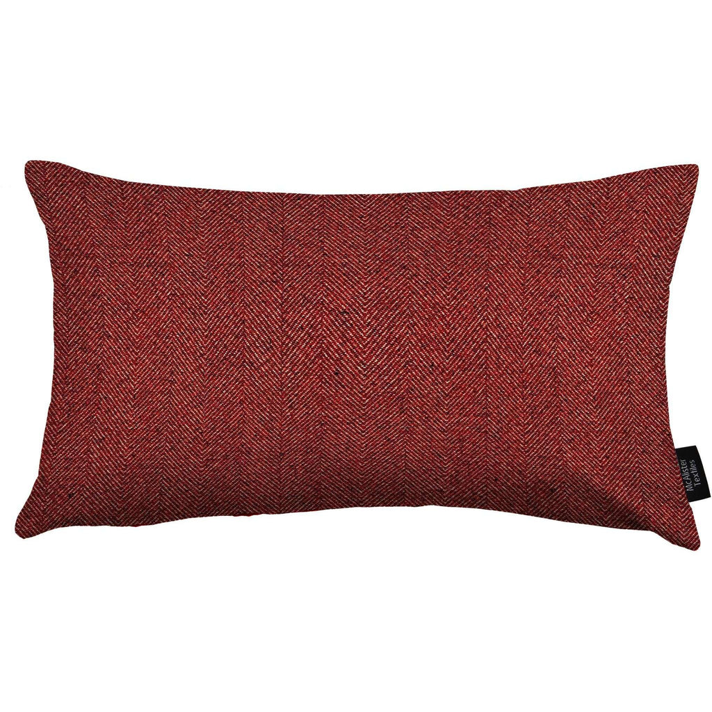 McAlister Textiles Herringbone Red Cushion Cushions and Covers Cover Only 50cm x 30cm