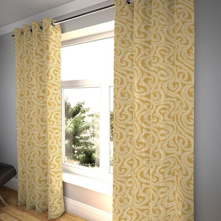 "McAlister Textiles Little Leaf Ochre Yellow Curtains Tailored Curtains 116cm(w) x 182cm(d) (46"" x 72"")"