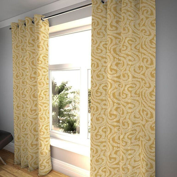 "McAlister Textiles Little Leaf Mustard Yellow Curtains Tailored Curtains 116cm(w) x 182cm(d) (46"" x 72"")"
