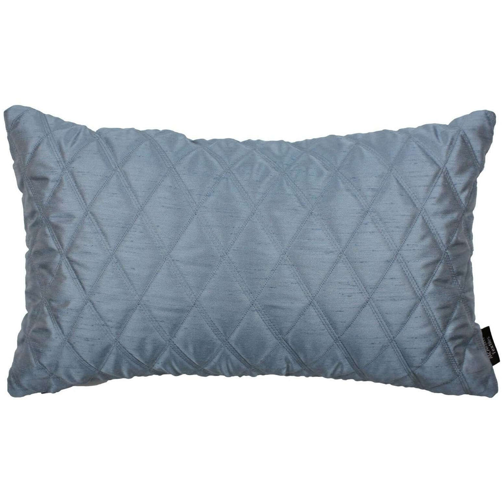 McAlister Textiles Rocco Diamond Quilted Wedgewood Blue Silk Pillow Pillow Cover Only 50cm x 30cm
