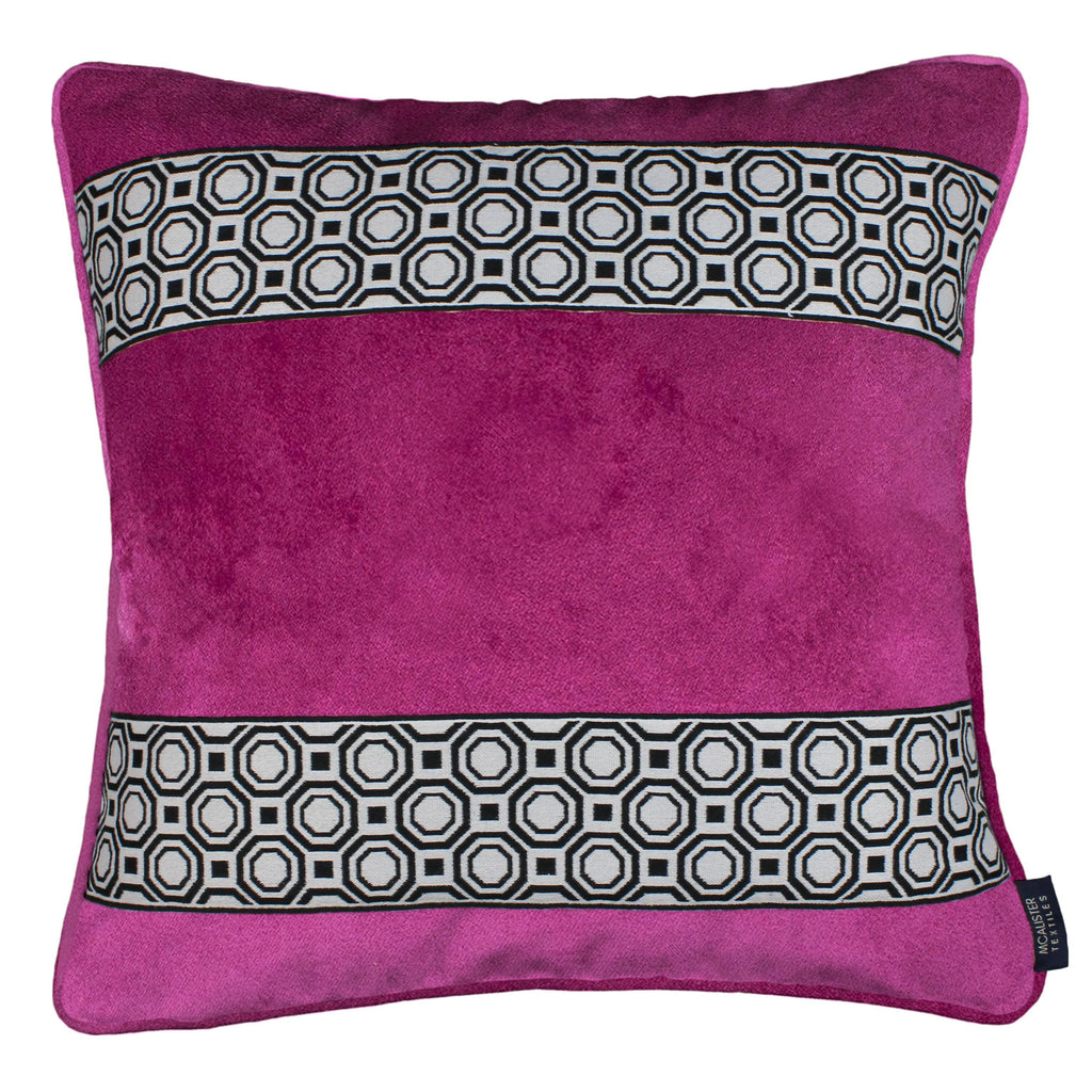 McAlister Textiles Cancun Striped Fuchsia Pink Velvet Cushion Cushions and Covers Polyester Filler 43cm x 43cm