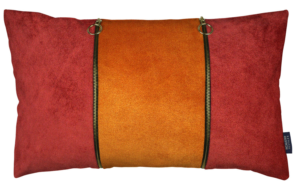 McAlister Textiles Decorative Double Zip Orange + Rust Red Velvet Pillow Pillow Cover Only 50cm x 30cm