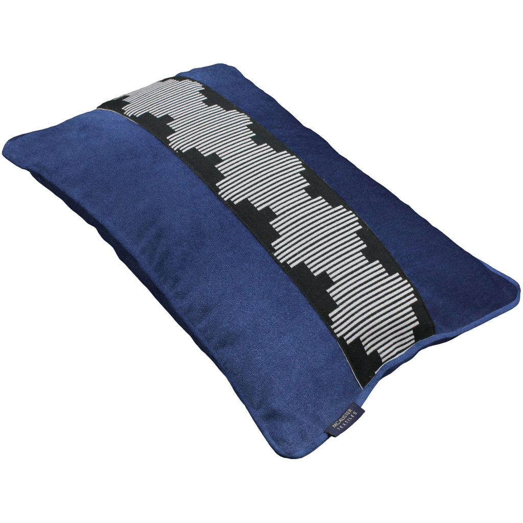 McAlister Textiles Maya Striped Navy Blue Velvet Pillow Pillow