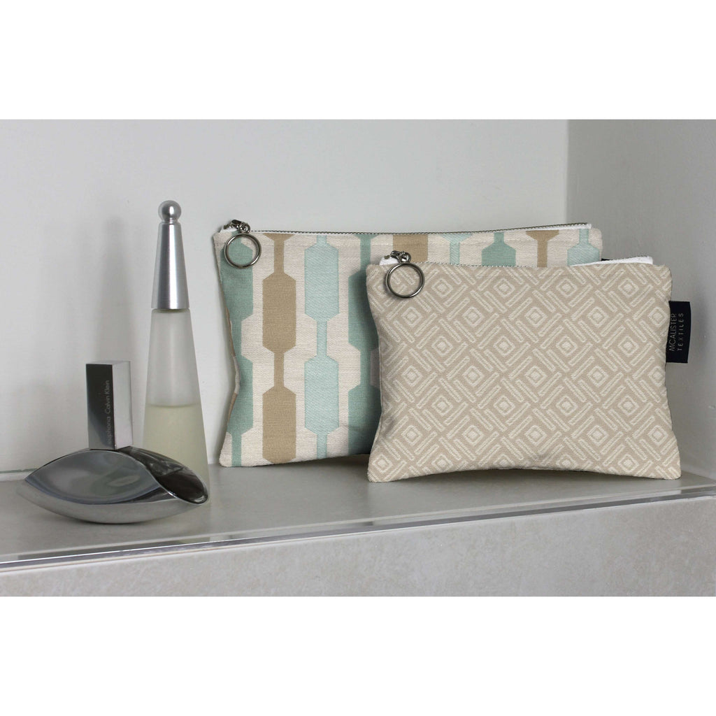 McAlister Textiles Elva Duck Egg Blue Makeup Bag Set Clutch Bag