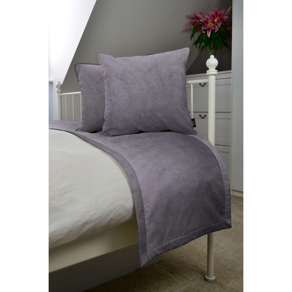 McAlister Textiles Matt Soft Silver Velvet Bedding Set Bedding Set Runner (50x240cm) + 2x Cushion Covers