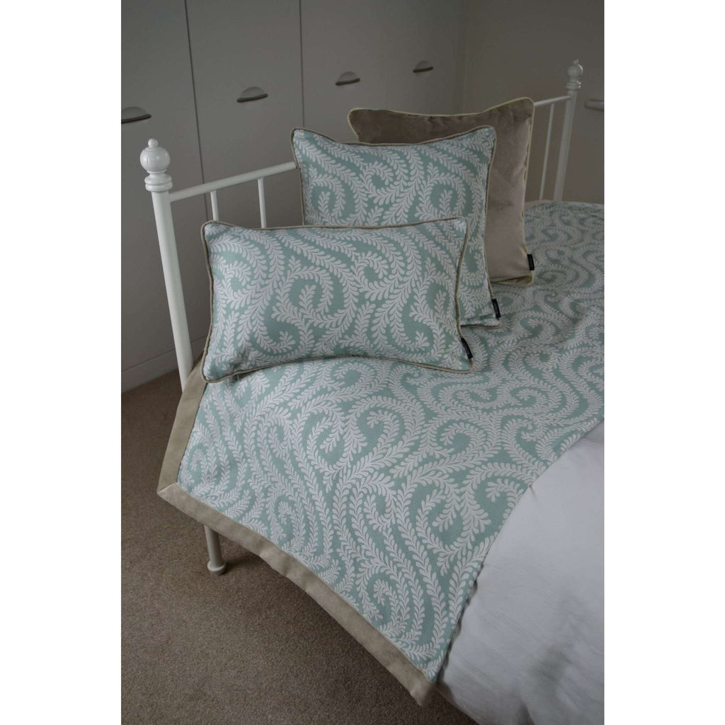 McAlister Textiles Little Leaf Duck Egg Blue Cushion Cushions and Covers