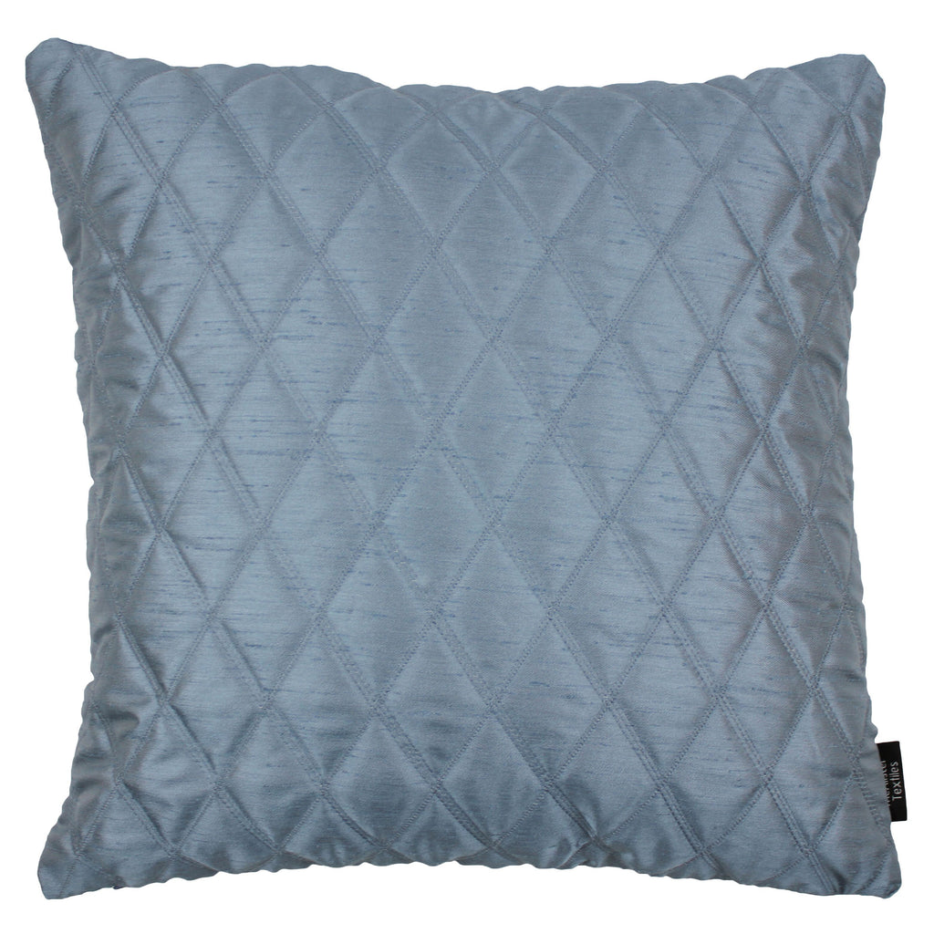 McAlister Textiles Rocco Diamond Quilted Wedgewood Blue Silk Cushion Cushions and Covers Cover Only 43cm x 43cm